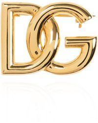 Dolce & Gabbana Logo Brooch - Metallic