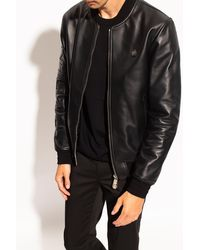 Philipp Plein Leather Jacket - Black