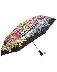 Moschino Folding Umbrella With Logo Unisex Multicolour