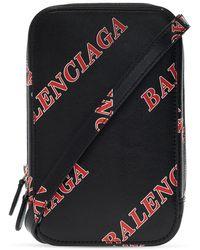 Balenciaga Phone Holder With Strap Unisex Black