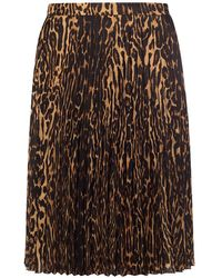Burberry Leopard Print Pleated Skirt - Brown
