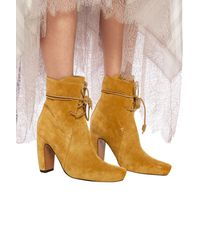 Lanvin Heeled Suede Ankle Boots - Yellow