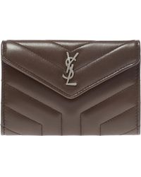 Saint Laurent Quilted Wallet With Logo