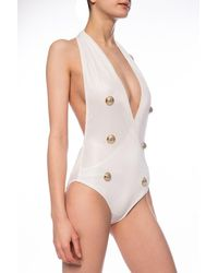 Balmain One-piece Swimsuit White