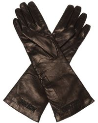 Moschino Leather Gloves With Metalware Black