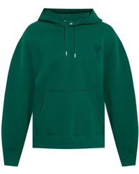 AMI Logo-embroidered Hoodie - Green