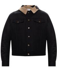 Loewe Wool Jacket With Logo Black