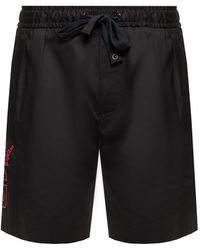 Dolce & Gabbana Stretch Cotton jogging Shorts With Dg Patch - Black