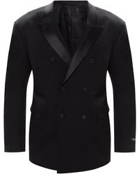 Versace Wool Blazer With Notch Lapels Black