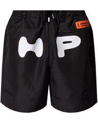 Heron Preston Shorts With Logo - Black
