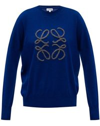 Loewe Wool Sweater With Logo Navy Blue