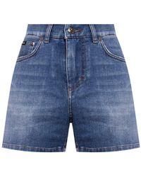 Dolce & Gabbana Distressed Denim Shorts Navy Blue