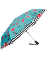 Moschino Patterned Umbrella With Logo - Blue