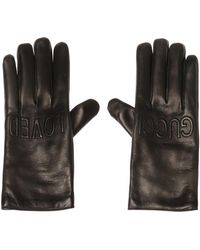 Gucci Logo-embroidered Gloves - Black