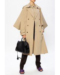 Bottega Veneta Trench Coat With Decorative Sleeves Beige - Natural