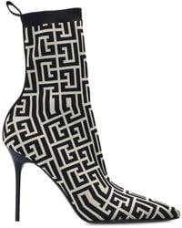 Balmain Stiletto Court Shoes With Sock - Black