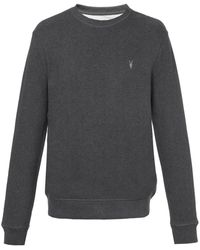 AllSaints - 'raven' Logo-embroidered Sweatshirt Grey - Lyst
