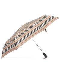 Burberry Folding Umbrella With Logo Unisex Beige - Natural