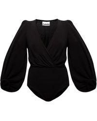 Ganni V-neck Bodysuit - Black