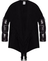 Moncler 'mantella' Coat With Fringes Multicolour - Black