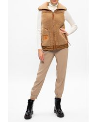 COACH Wool Vest With Logo - Natural