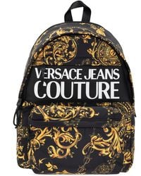 Versace Jeans Couture Backpack With Barocco Motif - Black