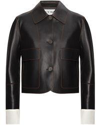 Loewe Leather Jacket With Logo Black