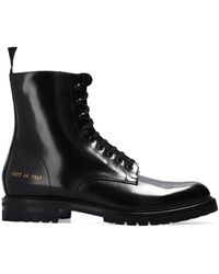 Common Projects 'combat' Ankle Boots - Black