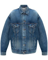 Balenciaga Denim Jacket With Logo Blue