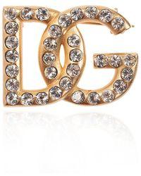 Dolce & Gabbana Embellished Logo Pin - Metallic