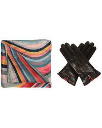 Paul Smith Shawl & Leather Gloves Set Multicolour - Black