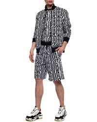 Dirk Bikkembergs Patterned Sweat Shorts Black