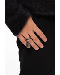 Balenciaga Ring With Padlock Detail Silver - Metallic