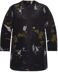 AllSaints 'carina' Kimono With Floral Motif Black