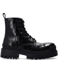 Balenciaga 'strike' Lace-up Ankle Boots Black