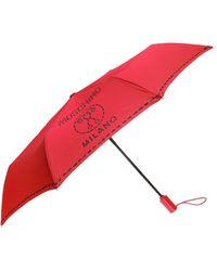 Moschino - Foldable Umbrella With Logo Pattern - Lyst