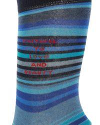 Etro Striped Socks Blue