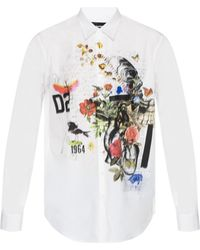 DSquared² Graphic Print Shirt - White