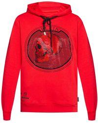 Philipp Plein Logo Hoodie Red