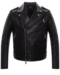DSquared² Leather Biker Jacket Black