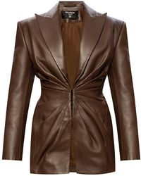 Balmain Leather Blazer Brown