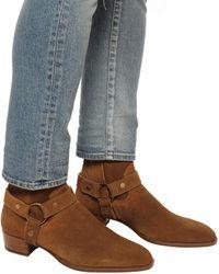 Saint Laurent Wyatt Harness Boots In Suede - Brown