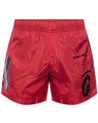 Off-White c/o Virgil Abloh Logo-printed Swim Shorts - Red