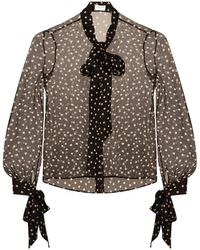 Saint Laurent Shirt With Polka Dot Print Black