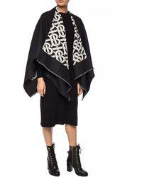 Burberry Monogram Wool Jacquard Cape - Black