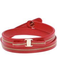 Ferragamo Leather Bracelet With Bow - Red