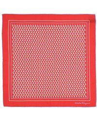 Ferragamo Pocket Square With Logo Red