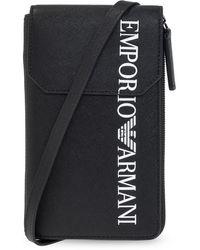 Emporio Armani Strapped Card Case - Black