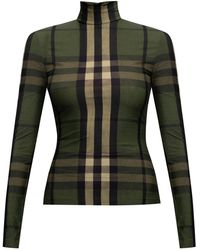 Burberry Top With High Neck - Green