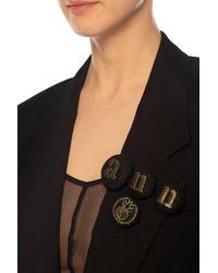 Ann Demeulemeester Set Of Logo Brooches Black
